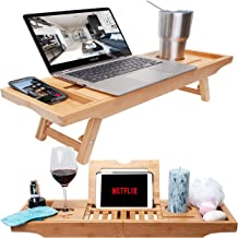 Bamboo Bathtub Tray & Bed Laptop Desk with Foldable Legs, Latest Unique Zen Design Bathtub Caddy, Top Quality Bamboo Bathtub Caddy Tray with Adjustable Legs, Wine Glass & iPad Holder by Bambooware
