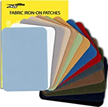 ZEFFFKA Premium Quality Fabric Iron-on Patches Inside & Outside Strongest Glue 100% Cotton Blue Gray Beige Brown Yellow Re...