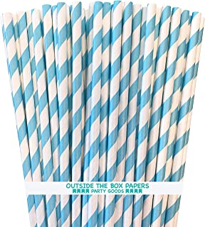 Light Blue Stripe Paper Straws - 100 Pack