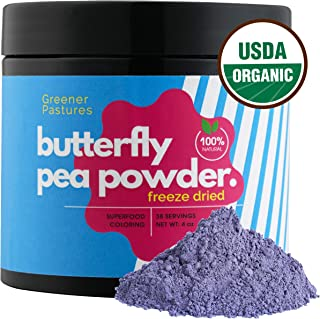 Organic Butterfly Pea Powder Flower (4 oz) Natural Food Coloring Blue Matcha Superfood by Greener Pastures