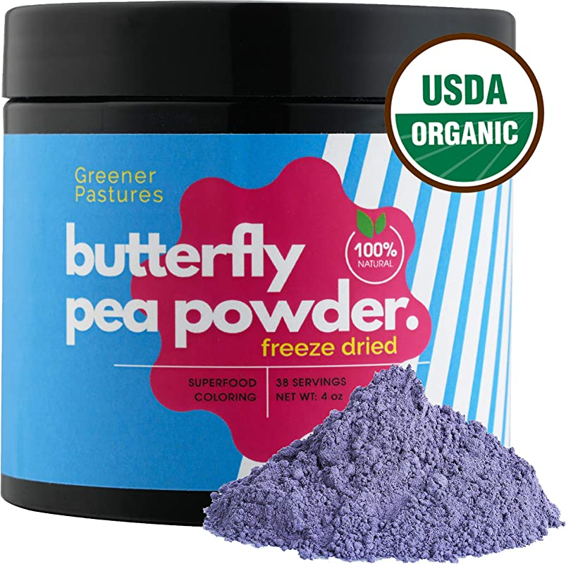 Organic Butterfly Pea Powder Flower 4 Oz Natural Food Coloring Blue Matcha Superfood By Greener Pastures