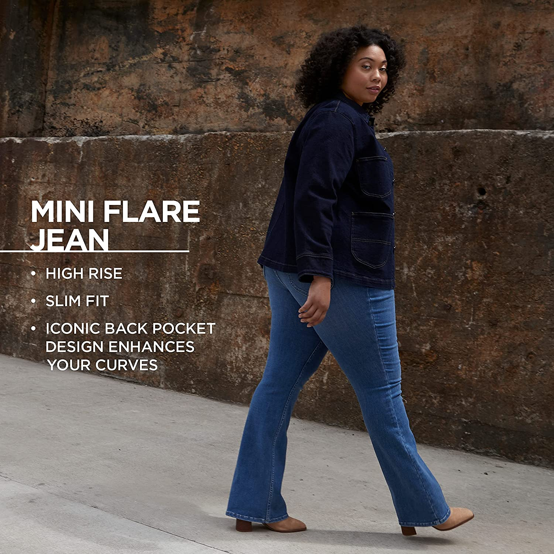 Lee Women's Plus Size High Rise Mini Flare Jean