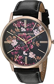 Women's VC/5322FLBK Rose Gold-Tone and Black Leather Strap Watch