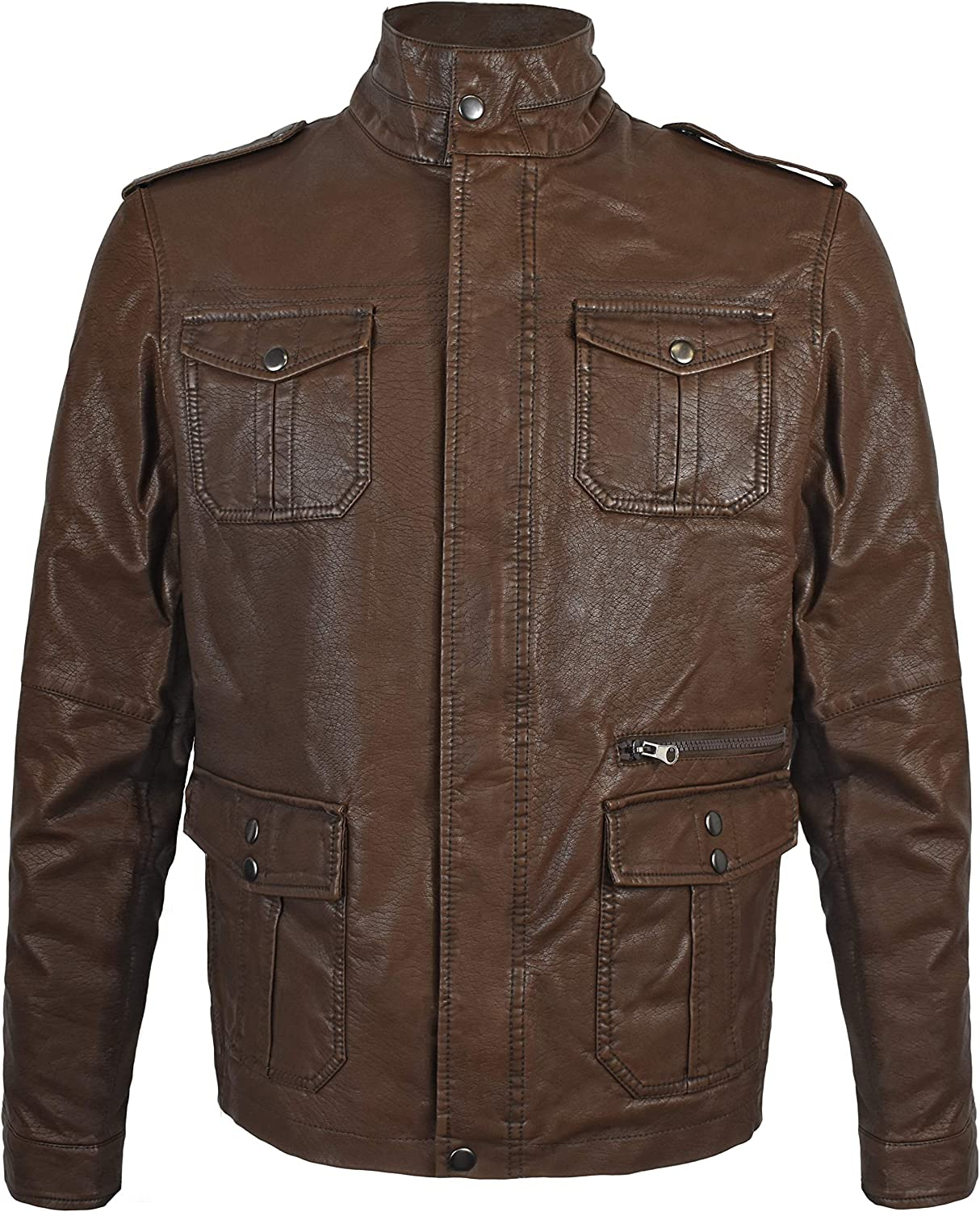 Victory Outfitters Men's Distressed Brown Sherpa Lined Faux Leather Jacket