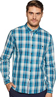 CHEROKEE Men's Checkered Regular Fit Casual Shirt (400017733852_Teal_L)