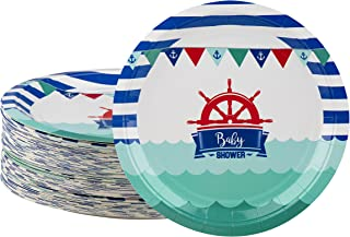 Disposable Plates - 80-Count Paper Plates, Nautical Themed Baby Shower Party Supplies for Appetizer, Lunch, Dinner, and Dessert, 9 x 9 Inches