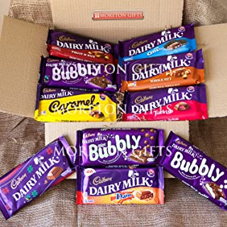Cadbury 10 Chocolate Bar Extravaganza Treat Box - Perfect Mother's Or Father's Day Gift - Dairy Milk, Fruit & Nut, Caramel, Turkish, Whole Nut, With Oreo, With Diam, Mint Bubbly, Milk Chocolate Bubby,& White Chocolate Bubbly - By Moreton Gifts