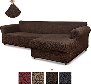 Sectional Sofa Cover - Sectional Couch Covers - L Couch Cover - Cotton Fabric Slipcovers - 1-piece Form Fit Stretch Furniture Slipcover - Mille Righe Collection - Brown (Right Chase)