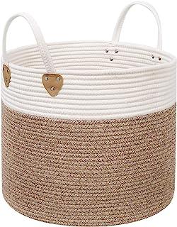 SONGMICS Panier à linge en corde de coton avec poignées - 50 L - Pour jouets, vêtements, couvertures, marron et beige - 40...