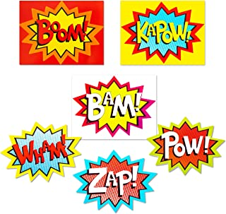 Superhero Word Cutouts (Pack of 6) – No Bent Corners Due to Protective Packaging - Action Sign Cut-Out for Superhero Themed Birthday Party & Photo Booth Props - Boom, BAM, ZAP, Kapow, POW, Wham