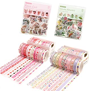 GOTONE 20 Rolls Washi Tape + 200pcs Cute Cat Flower Leaves Stickers,Foil Gold Thin Decorative Masking Washi Tapes,8MM Wide...