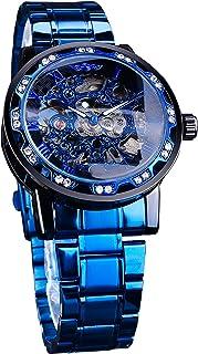 Forsining Steampunk Men's Watch Luxury Blue Skeleton Stainless Steel Hand-Winding Classic Mechanical Wrist Watch Diamond R...