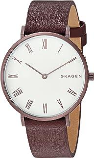 Skagen Women's Slim Hald Stainless Steel Analog-Quartz Watch with Leather Calfskin Strap, red, 16 (Model: SKW2676)