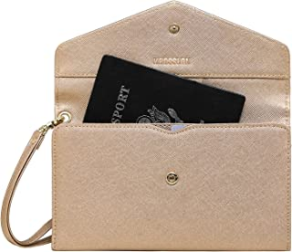 Krosslon Travel Passport Holder Wallet for Women RFID Blocking Document Organizer Tri-fold Wristlet Bag, 215# Rose Gold