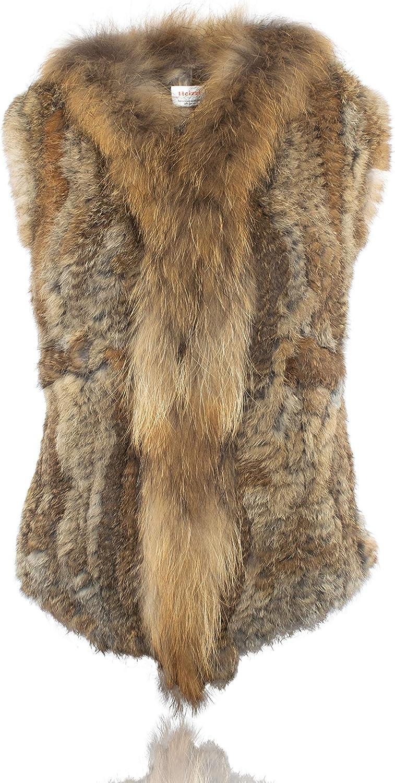 HEIZZI Genuine Rabbit Max Japan Maker New 48% OFF Fur Vest Pocket with