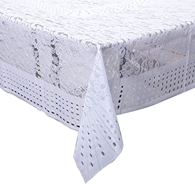 """Kuber Industries Flower Design Shining Cotton 6 Seater Dining Table Cover 60""""x90""""(White) CTKTC34028"""