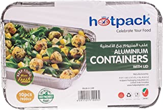 Hotpack Disposable Food Storage Containers - 10 Pieces (Silver)