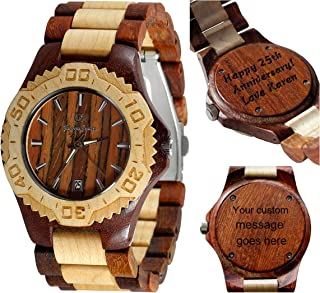Watch for him - Wooden Watch-Wood Watch-Wood Engraving-Custom Engraving Watch-Wedding Gift-Anniversary Gift - Men's Watch- Women's Watch - Unsex - Personal Message Laser Engraving - Gamma III
