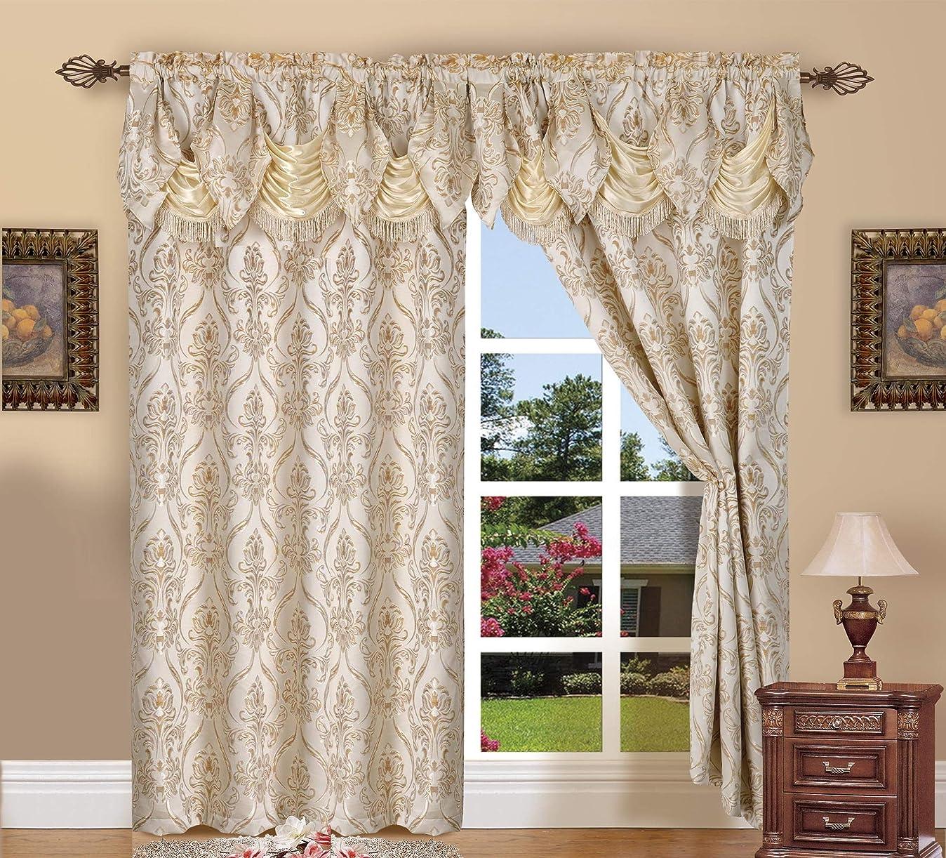 会計セグメント寛大さ(Beige) - Elegant Comfort Penelopie Jacquard Look Curtain Panel Set, 140cm by 210cm , Beige, Set of 2