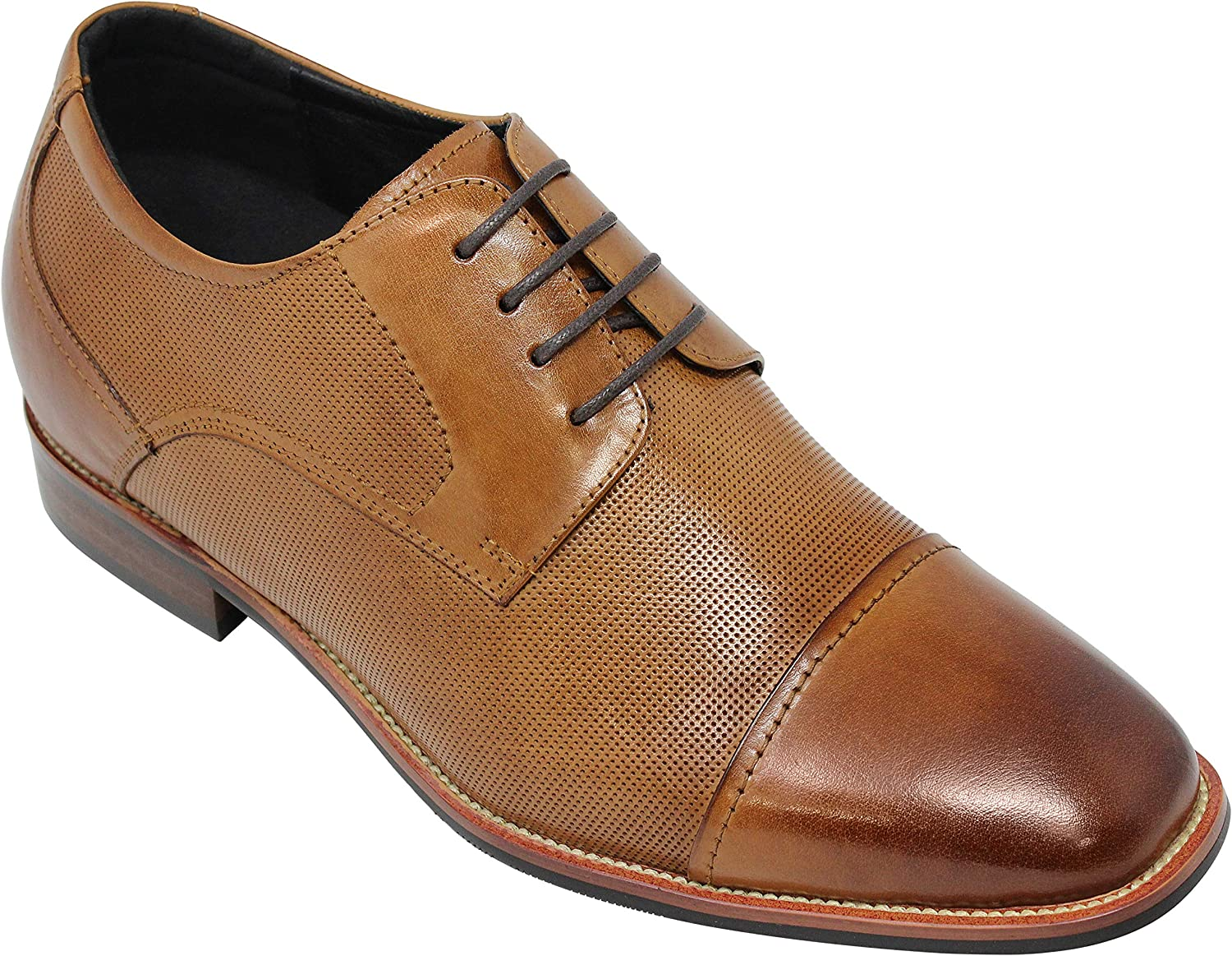 CALTO Men's Invisible Height Increasing Elevator Shoes - Brown Premium Leather Lace-up Formal Oxfords - 3 Inches Taller - Y10650