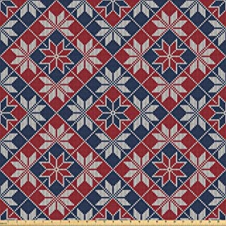 Ambesonne Nordic Fabric by The Yard, Wool Knit Pattern with Tartan Geometric Stripes Flower Print, Stretch Knit Fabric for Clothing Sewing and Arts Crafts, 1 Yard, Ruby Dark Blue Coconut