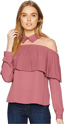 Sheer Neck with Collar Detail and Pleat Top