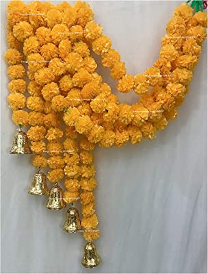 SPHINX Artificial Marigold Fluffy Flowers and Golden Hanging Bells Torans for Decoration Approx 5 ft- Pack of 5 Strings(Light Orange)