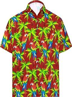HAPPY BAY botón de Camisa de los Hombres Playa de Bolsillo Delantero Corto Manga Cuello en Forma Regular de la Camisa Hawa...