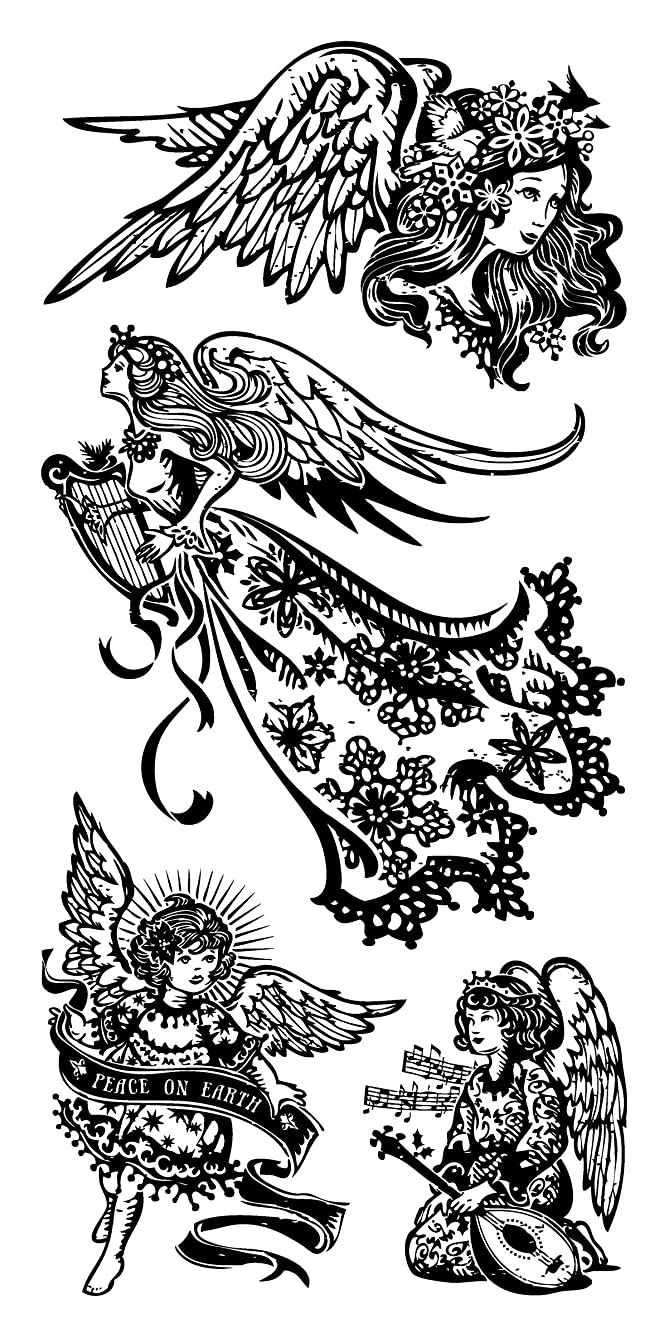 Inkadinkado Holiday Angel Unmounted Clear Rubber Stamp Set for Christmas Cards and Scrapbooking, 4'' L x 8'' H, 4 pc.