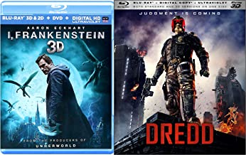 3D Combo I, Frankenstein + Dredd [Blu-ray 3D - Blu-ray ) Movie Pack Double Feature Bundle