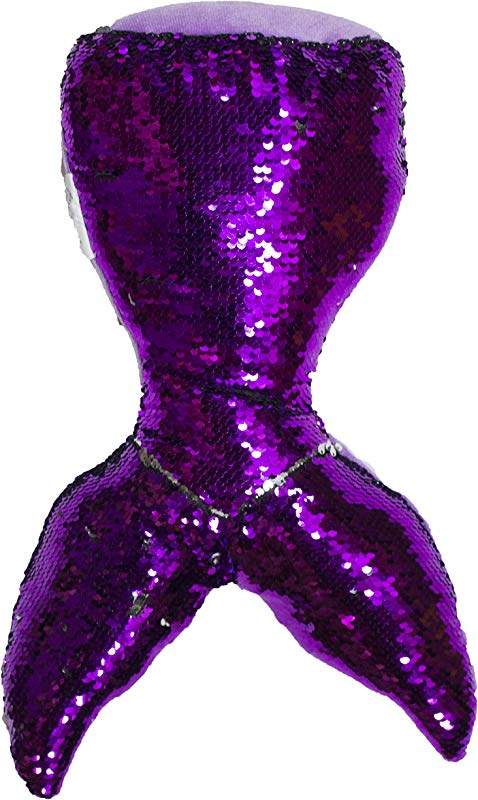 Barry Owens Co 16 Inch Color Changing Sequin Mermaid Tail Plush Pillow Purple