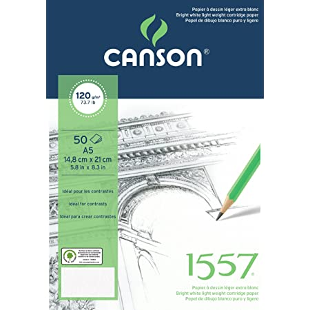 Canson Bloc 50 Feuilles Papier à Dessin 120 g Grain Léger A5 Blanc Pur