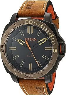 BOSS Orange Men's Stainless Steel Quartz Watch with Leather Calfskin Strap, Brown, 20.5 (Model: 1513314)