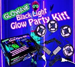 Black light glow party kit for large rooms 115W! 4 UV blacklight LED strips for neon parties, ultraviolet paint, Halloween...