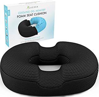 Donut Pillow Hemorrhoid Seat Cushion - Premium Gel Enhanced Tailbone Pain Relief Donut Cushion Helps Ease Hemmoroid, Post Natal, Surgery, Coccyx, Bed Sores and Sitting - Orthopedic Pillow by Lucidia