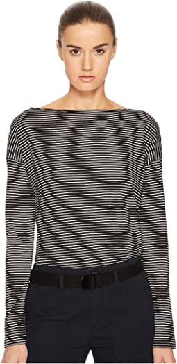 Pencil Stripe Long Sleeve Boat Neck