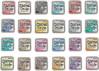 Tim Holtz and Ranger Distress Oxide Inks - Complete set of 24 Distress Oxide Ink 3x3 pads and Bonus Oxide Ink Color Chart