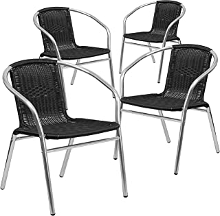 Flash Furniture 4 Pk. Commercial Aluminum and Black Rattan Indoor-Outdoor Restaurant Stack Chair
