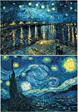 2 Pack DIY 5D Diamond Painting by Number Kit Full Drill Round Rhinestone Embroidery Pictures Arts Craft for Home Wall Decoration, Starry Night(16X20 inch)