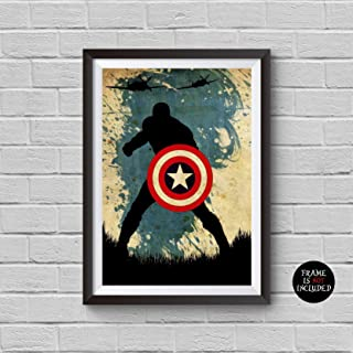 The Avengers Captain America Minimalist Watercolor Vintage Poster Avengers Collectibles Print Steve Rogers Chris Evans The First Avenger Winter Soldier Civil War Artwork Home Wall Decor Cool Gift