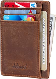 Kinzd Slim Wallet RFID Front Pocket Minimalist Leather Wallet thin Card Holder