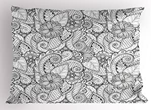 Ambesonne Ethnic Pillow Sham, Monochrome Flowers Hearts and Paisley Motifs Nature Doodle with Influences, Decorative Standard Size Printed Pillowcase, 26