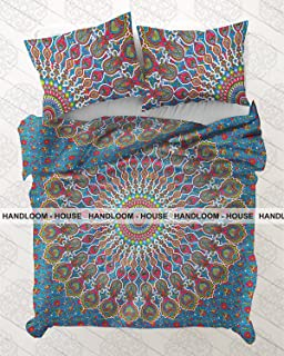 Indian Mandala Duvet Cover Queen Size, Bohemian Quilt Cover, Cotton Doona Cover, Boho Throw Blanket by Handloom House