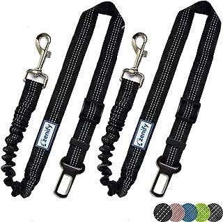 Zenify Dog Car Seat Belt Extendable Lead (2 Pack) - Bungee Leash for Dogs Puppies - Pet Adjustable Elastic Seatbelt Harnes...