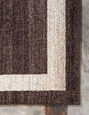 """Unique Loom Del Mar Collection Contemporary Transitional Area Rug, 3' 3"""" x 5' 3"""", Brown/Ivory"""