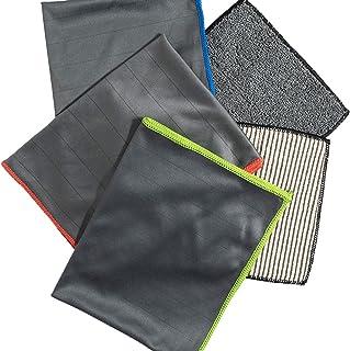 Cleanfaser® Premium Carbon Mikrofaser Glastücher   Microfasertücher für streifenfreie Scheiben und Fenster   fusselfreies Poliertuch   Auto/Spiegel/Fenster/Waffeltuch/ 50 x 40 cm (5)
