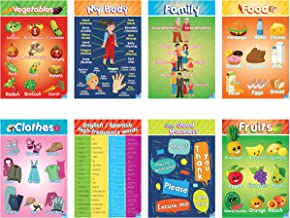 Educational Preschool Posters for Toddlers and Kids Perfect for Children Preschool & Kindergarten Classrooms Teach Body Parts, Family, Food, Fruits, Manners, Clothing, Vegetables and More!