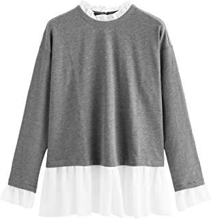 d9cd1aa981 SheIn Women's Casual Mock Neck Colorblock Heather Knit Sweatshirt