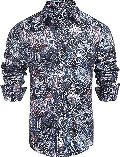 Men's Paisley Cotton Long Sleeve Casual Button Down Shirt