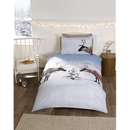 Reindeer Christmas Novelty Xmas Quilt Duvet Cover and Pillowcase Bedding Bed Set, Multi-Colour, Single